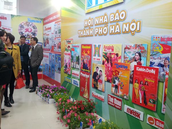 Khu trưng bày của Khối báo chí thuộc Hội Nhà báo Thành phố Hà Nội.