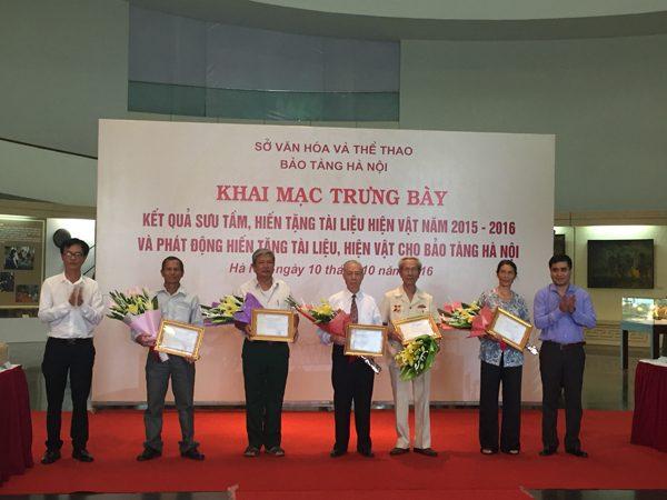 Bảo tàng Hà Nội cảm ơn các cá nhân đã hiến tặng hiện vật, tài liệu
