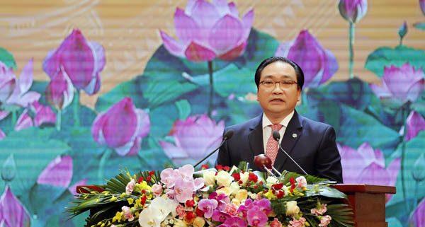 Bí thư Thành ủy Hoàng Trung Hải đọc diễn văn tại lễ kỷ niệm