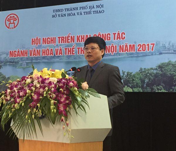 Đồng chí Phó Chủ tịch UBND TP Hà Nội Ngô Văn Quý pgast biểu tại Hội nghị Triển khai công tác Ngành Văn hóa - Thể thao Hà Nội năm 2017
