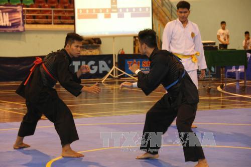 Các vận động viên thi đấu ở hạng 75 kg đối kháng (ảnh TTXVN)