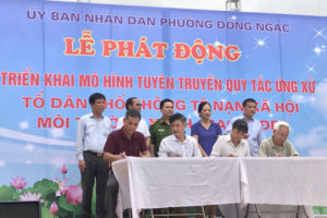 Đồng loạt ra quân tuyên truyền xây dựng tổ dân phố Xanh – Sạch – Đẹp – Không tệ nạn xã hội tại quận Bắc Từ Liêm