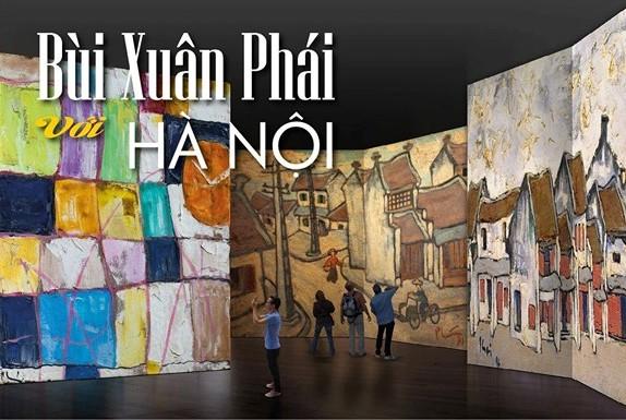 Tranh Bùi Xuân Phái được triển lãm tại Bảo tàng Hà Nội bằng công nghệ mới