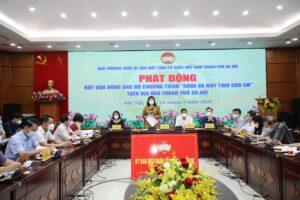 """Ủy ban MTTQ Việt Nam Thành phố Hà Nội phát động và tiếp nhận 460 triệu đồng và 3.000 thiết bị học trực tuyến ủng hộ chương trình """"Sóng và máy tính cho em"""""""